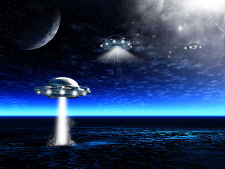 Fantastic night landscape with UFO and laser beam in a ocean. Illustration illustration