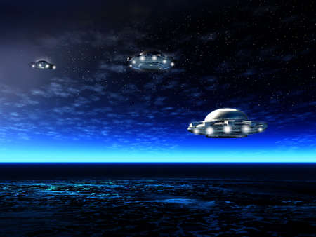 invasion: Fantastic night landscape with UFO and ocean. Illustration Stock Photo