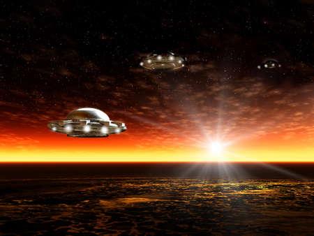Fantastic landscape with UFO and ocean. Illustration illustration