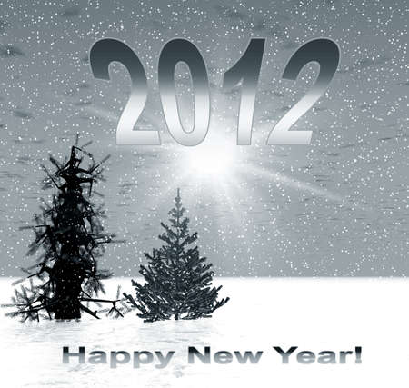 Christmas cover for 2012 year with fir trees and text Stock Photo - 11340095