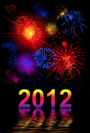 salvoes: Vibrant beautiful firework on the holiday day, new 2012 year