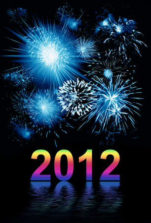 Vibrant beautiful firework on the holiday day, new 2012 year Stock Photo - 11340168