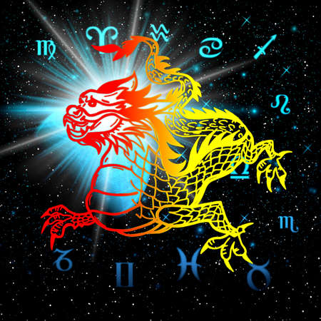 East symbol 2012 year - dragon on a abstraction picture, cover for music cd and album photo