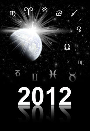 Twelve symbols of the zodiac. Abstraction spacy illustration. Cover for card and alboom and book of 2012 year Imagens
