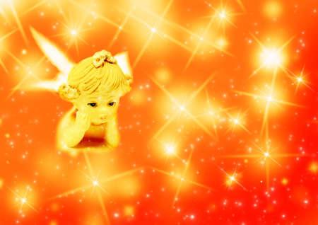 christmas angels: Christmas angel and magic   light and stars Stock Photo