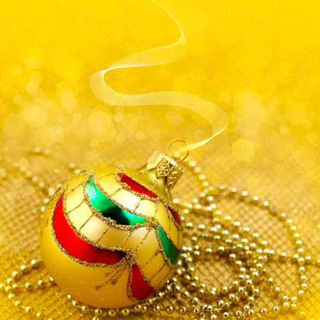 Golden illustration background with  with christmas decor - glass ball illustration