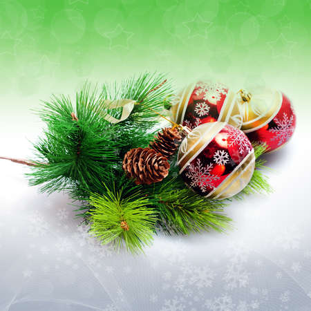 Abstract illustration background with  with christmas decor - glass balls Reklamní fotografie