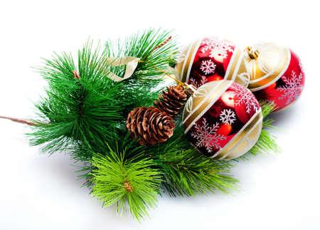 Fir tree  with  with christmas decor - glass balls photo
