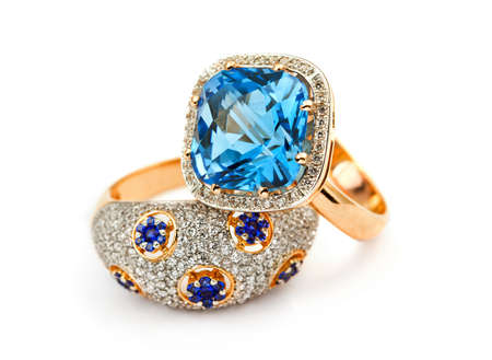 Elegant jewelry ring with jewel stone sapphire