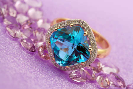 precious stone: Elegant jewelry ring with jewel stone  blue topaz  Stock Photo