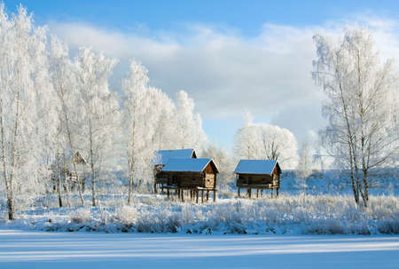 Winter scenery with trees and old houses in sunny cold day Stock Photo - 11597844