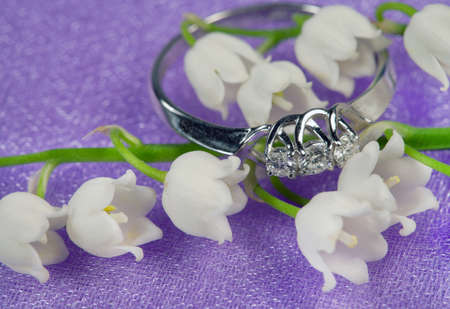 jewelle: Elegant jewelry ring with brilliant and spring natural flowers Stock Photo