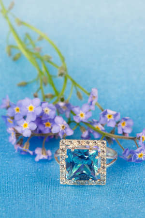 jewelle: Elegant jewelry ring with spring natural flowers forget-me-not