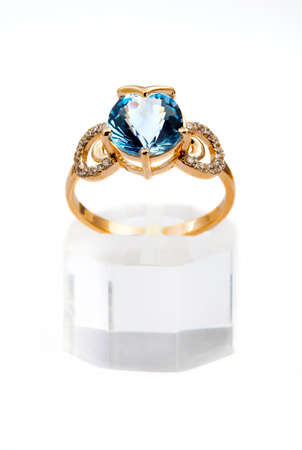 textille: Elegant jewelry ring with jewel stone sapphire
