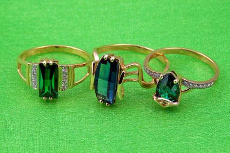 Elegant jewelry ring with jewel stone emerald photo