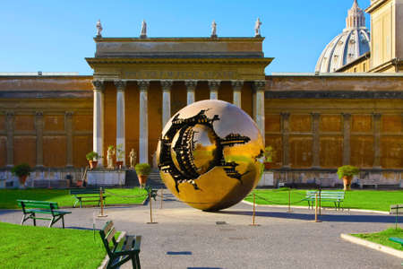 pontiff: Golden sphere- world in Internal court yard of Vatican, Rome, Italy. State of the City of Vatican Editorial