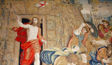 italian fresco: Art of Italy in museums of Vatican, a tapestry Editorial