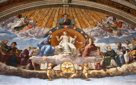 Art of Italy in museums of Vatican, a fresco of Raphael , stanza Editorial