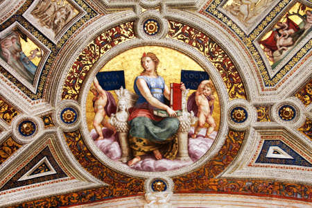 renaissance art: Art of Italy in museums of Vatican, a fresco of Raphael , stanza Editorial