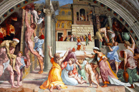 fresco: Art of Italy in museums of Vatican, a fresco of Raphael , stanza Editorial