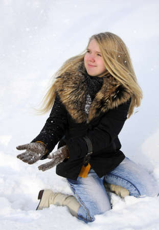 Portrait of the  beautiful girl in winter season photo