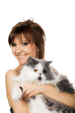 Charming young woman with persian cat isolated on white background Stock Photo - 11980709