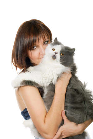 Charming young woman with persian cat isolated on white background Stock Photo - 11980724