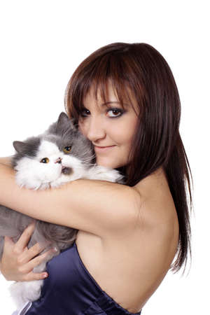 Charming young woman with persian cat isolated on white background photo