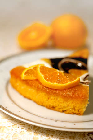 Tasty   fancy cake  with Chocolate and orange