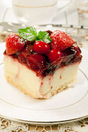 Tasty  cheesecake  with  fruit  jelly  of berries photo