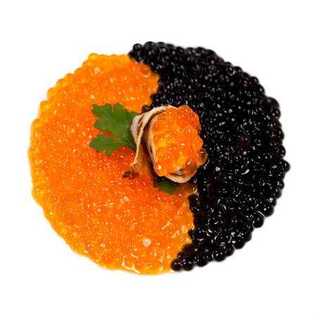 sturgeon: Snack with  Black sturgeon caviar isolated over white background