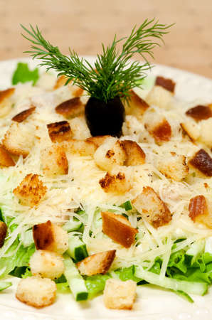 CHICKEN CAESAR SALAD: Salad with chicken meat and cheese and crackers - Caesar