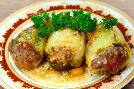 mincemeat: Paprika  stuffed   mincemeat, on plate and parsley