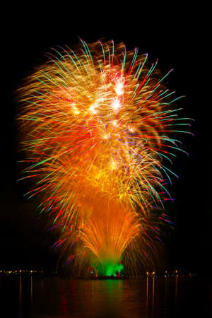 Celebratory bright firework in a night sky  photo