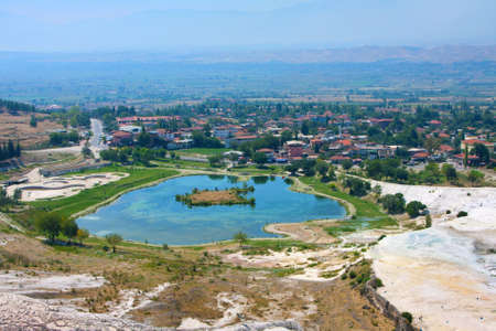 Travertine pools and terraces, Pamukkale, Turkey, top view photo