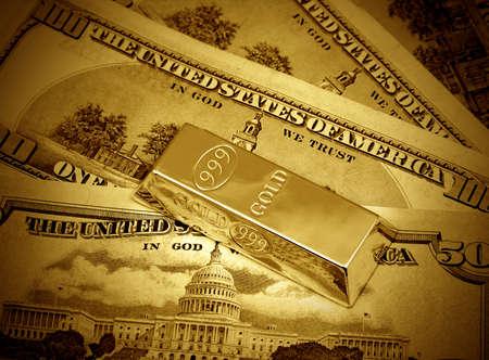 The money dollars and gold bullion