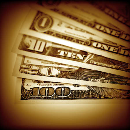 The money American dollars  Bundle of bank notes   photo