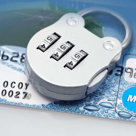 Plastic card and  lock with confidential code  closeup Stock Photo - 13208223