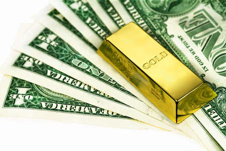 The money american dollars and gold bullion Stock Photo - 13471749