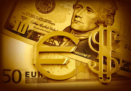 european exchange: The money euro. Bundle of bank notes