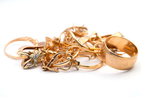 jewell: Set of female golden rings, isolated over white background
