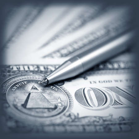 American dollars and pen close- up , monochromatic Stock Photo - 13471449