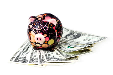 moneybox: Preservation of capital, coins and money-box -  piggy bank Stock Photo