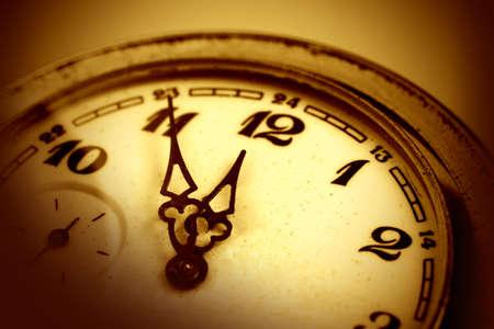 Mechanical old watch close-up, twelve o'clock Standard-Bild