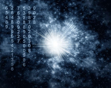 Galaxy matrix,  space, night and stars and  ciphers Stock Photo