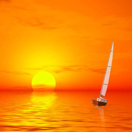Lonely sailer on sunset of sea, 3d art photo