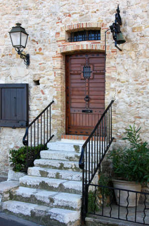 Antibes city, architecture and streets, door, France photo