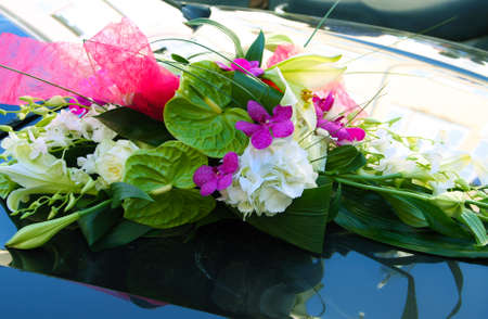 motorcar: Blossom of beautiful  flowers on wedding automobile