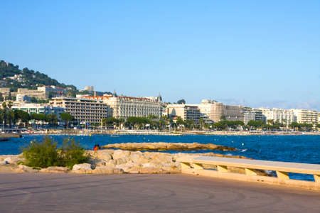 cote d'azure: The city of Cannes with its famous croisette and marina,  Azure coast of france  Stock Photo