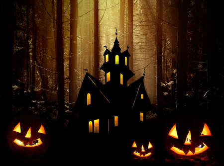 Halloween. Night. Moonlight, Castle and  pumpkins. Abstraction collage Stock Photo - 15574269